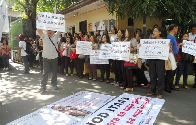 Manila public school teachers protest controversial division superintendent
