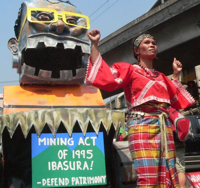 Tumanduk Secretary general Aileen Catamin at the March 3 protest vs Mining Act (photo by D. Ayroso)