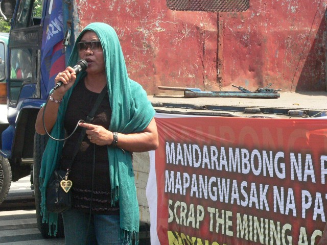 Cristeta Sison of Agap-Move Now Zambales at the March 3 protest on the 20th year of the Mining Act (Photo by D. Ayroso)