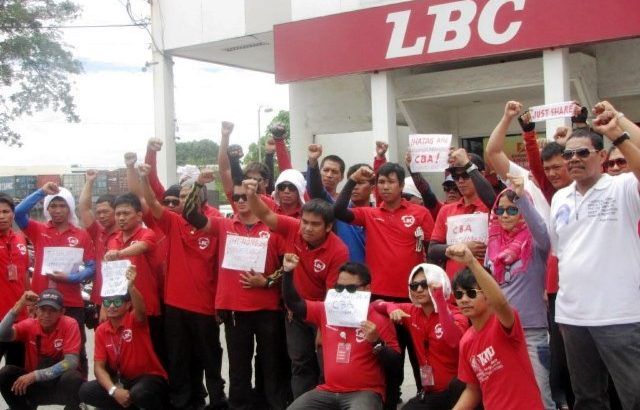 LBC Davao workers on protest