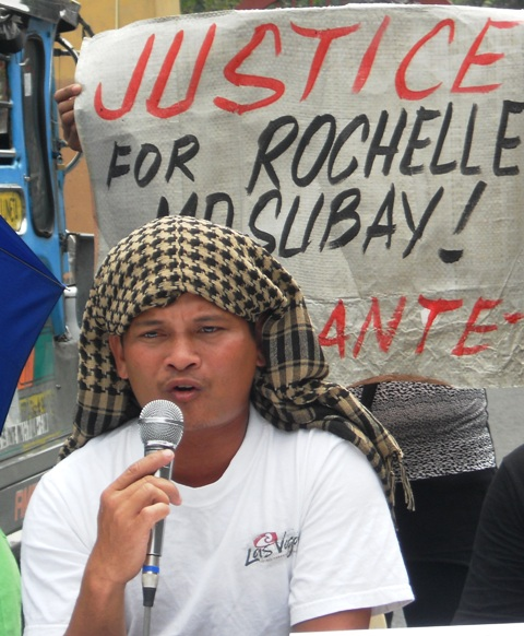 Rodolfo Malinao, the husband of Rochelle Masubay, an overseas Filipino worker who died under mysterious circumstances was emotional in calling for justice for his wife. (Photo by A. Umil/ Bulatlat.com)