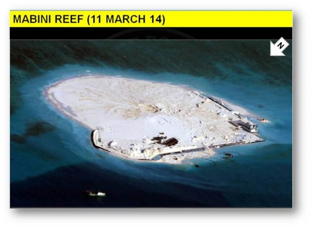 Extensive reclamation by China on Mabini Reef (Johnson South Reef) which part of the Kalayaan Island Group. (Photo release by the Department of Foreign Affairs)