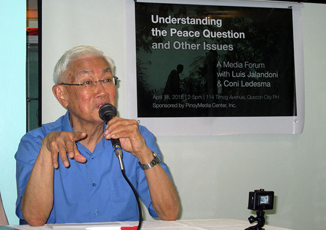 Luis Jalandoni, chairman of the National Democratic Front of the Philippines (NDFP) peace panel, says Aquino is the biggest stumbling block to peace talks in a forum, April 18. (Photo by Ronalyn V. Olea / Bulatlat.com)
