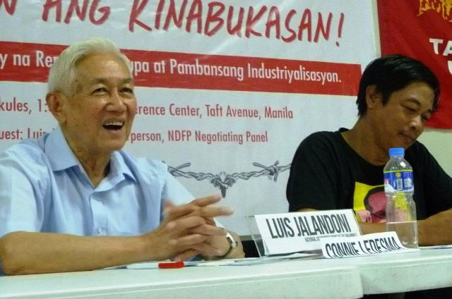 Luis Jalandoni of National Democratic Front of the Philippines speak about reforms at a forum on national industrialization and land reform organized by KMU and KMP Apr 22, in IFI Conference Center, Manila (Photo grabbed from KMU website / Bulatlat.com)