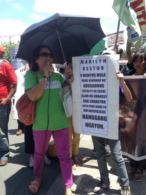Lani Dizon assails DFA over inaction to her sister's case. (Photo by J. Ellao / Bulatlat.com)