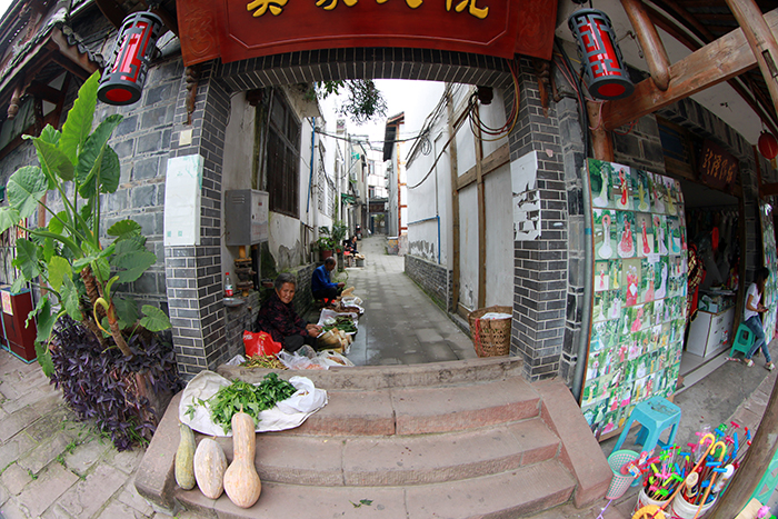 While Huanglongxi Ancient Town's old mansions are now characterized by slick shops, its small farmers have to sell their produce in back alleys in this popular tourist destination. (Sichuan Province, People's Republic of China)