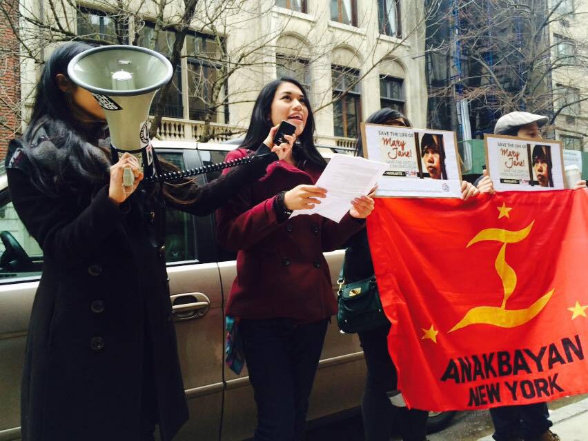 Fil-Am activists hold protest in front of the Indonesian embassy in New York