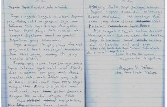 Mary Jane to Widodo: 'Grant me pardon'