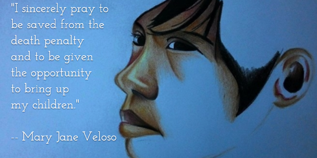A line from Veloso's appeal to Indonesian President Joko Widodo, in this unfinished sketch of Mary Jane Veloso, courtesy of Sining Kadamay (Bulatlat.com, Apr 25, 2015)