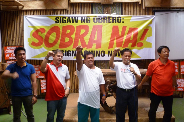 Leaders of various labor groups call for the resignation of President Benigno Aquino III in a press conference, April 14. (Photo by Marya Salamat / Bulatlat.com)