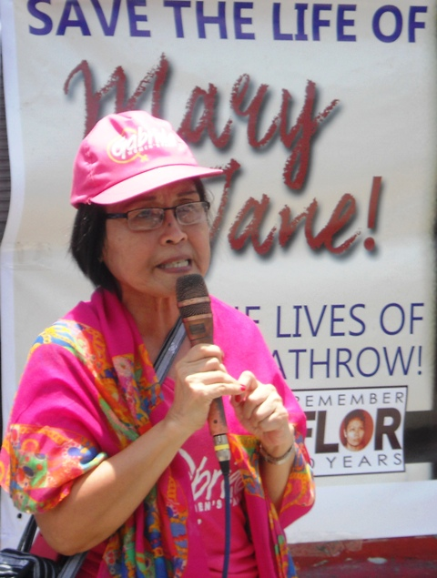 Gabriela Women's Party Rep. Emmi De Jesus said severe poverty made mothers like Mary Jane Veloso vulnerable to trafficking and end up on death rows in many countries. (Photo by A. Umil/ Bulatlat.com)
