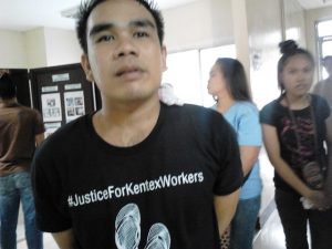 In the picture is Kenny Guerrero, Kentex fire survivor, now jobless and seeking justice for his friends, coworkers and family member who died in the factory fire (Photo by Marya Salamat / Bulatlat.com)