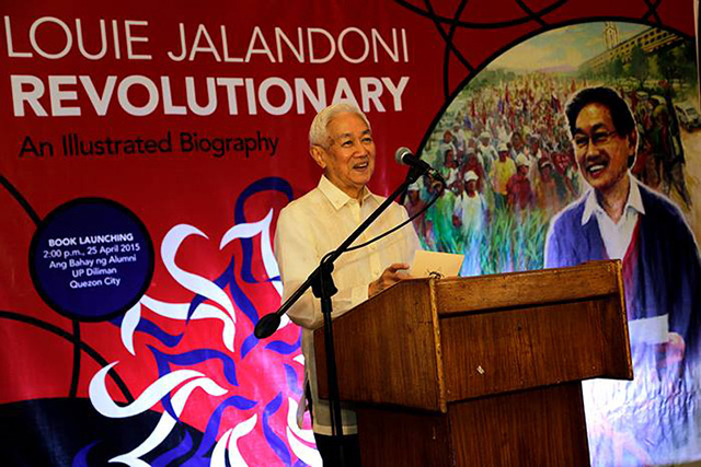 Luis Jalandoni thanks all those who have touched his life during the launch of his illustrated biography, April 25. (Photo by Kodao Productions)
