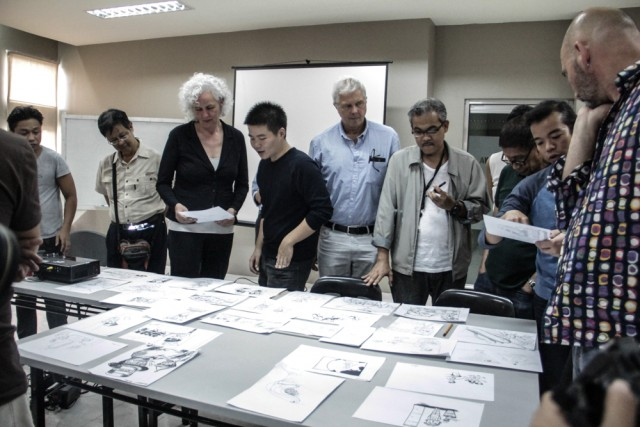 Eu and Ph cartoonists at the master class in UP (Photo by M.Santiago/Manila Today)