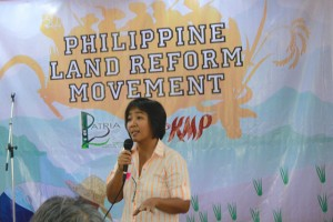 Rosario Bella Guzman, executive editor of Ibon Foundation, says agrarian reform is still the key to national development. (Photo by Ronalyn V. Olea / Bulatlat.com)