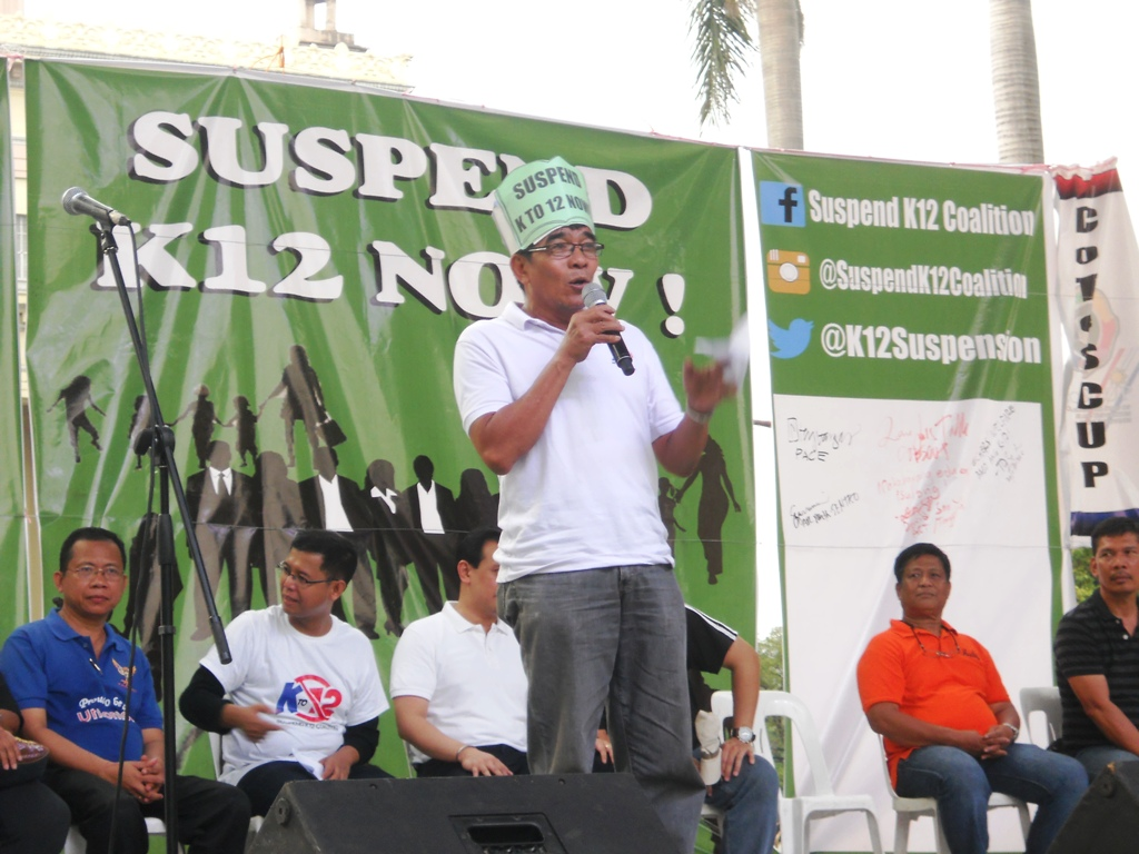 Benjie Valbuena, Alliance of Concerned Teachers (ACT) president vows to continue fight against K to 12. (Photo by A. Umil/ Bulatlat.com)