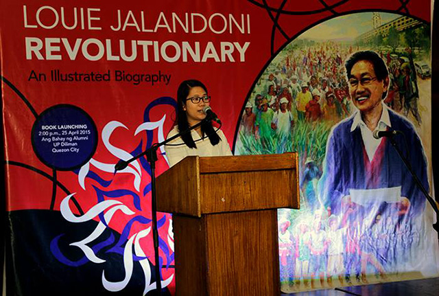 Ina Alleco Silverio says the youth can look up to Luis Jalandoni as one of their role models. (Photo by Kodao Productions)