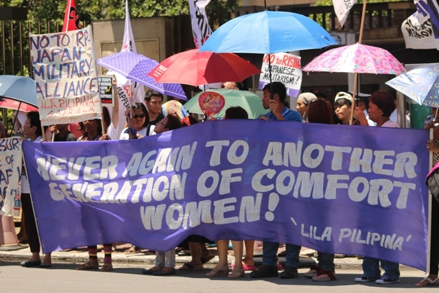 Protesters outside the Japanese embassy in Pasay City (Photo by B.Mallo/Bulatlat.com)