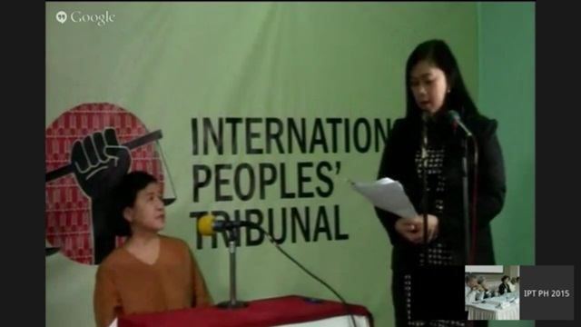 Women's rights advocate Liza Maza testifies via Skype after being barred from travelling to the US.
