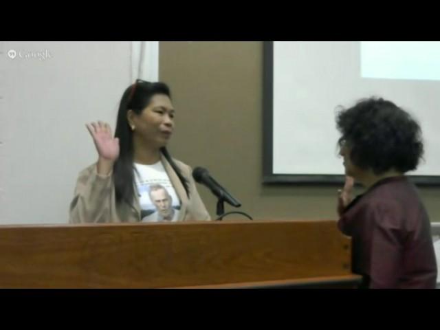 Maria Aurora Santiago testifies before the IPT jurors on the killing of Dutch missionary Willem Geertman