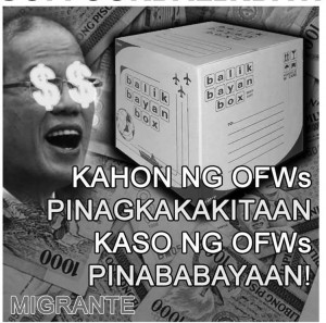 SEEING DOLLARS: OFW group Migrante depicts the latest in the list of impositions on migrant Filipinos.