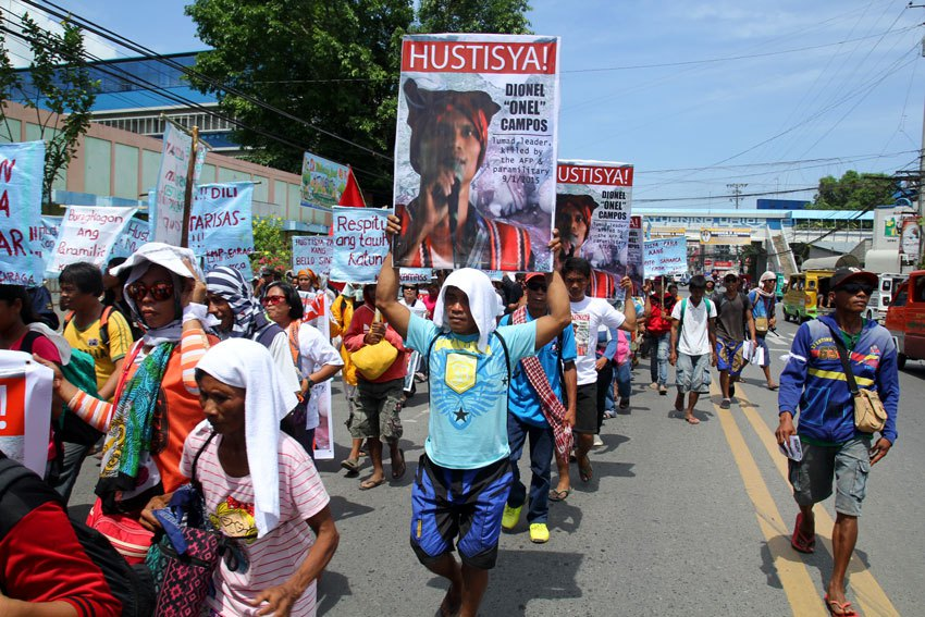 More than 10,000 people from different regions in Mindanao join the funeral march for Emerito Samarca, Dionel Campos, and Datu Jovello Sinzo who were killed by the Magahat-Bagani Force last September 1. The militia group is allegedly created by the Army.