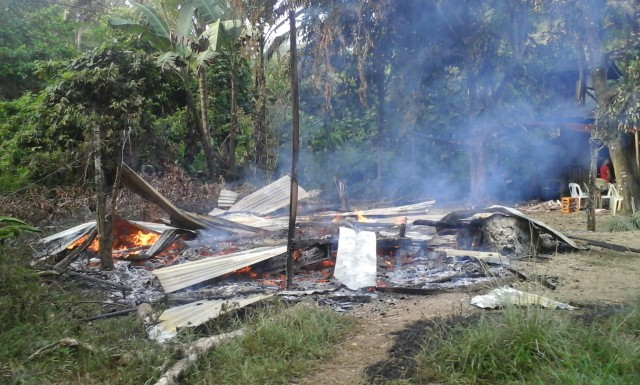 What remains of the Mapasu cooperative, which was burned by Magahat-Bagani men on Sept.1 (Photo courtesy of Karapatan-Caraga/Bulatlat.com)