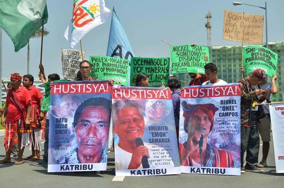 Igorots from Nueva Vizcaya and Lumads from Mindanao joined green groups to condemn the impunity of mining companies implicated in plunder, pollution and militarization (Photo by Kalikasan PNE/Bulatlat.com)