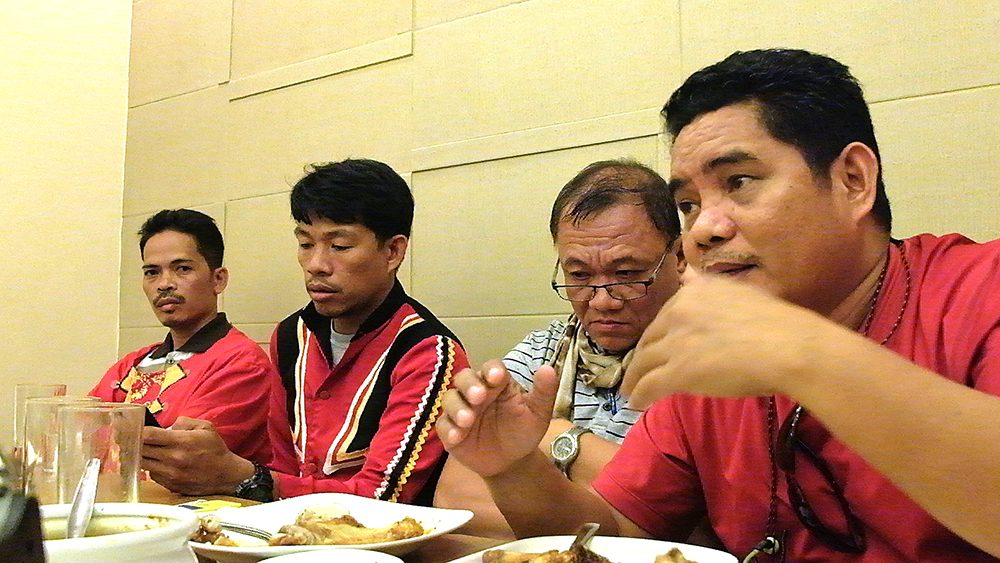 Belandres, Maca, Tariman and Apas at the Sept. 15 briefing with journalists and bloggers in a Makati City restaurant. (Photo by Raymund B. Villanueva / Kodao Productions)