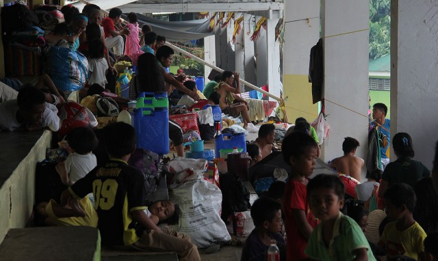 Lumad children evacuees on the grandstand of the Provincial Sports Complex in Tandag City (Photo by Kilab Multimedia)