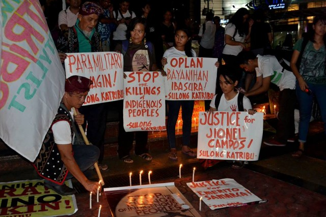 Indigenous leaders from Mindanao and Luzon joined the Sept. 2 candle-lighting in Quezon City (Photo courtesy of Katribu/Bulatlat.com)