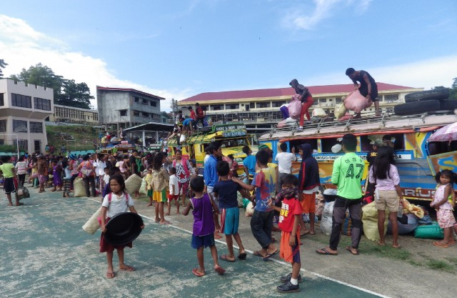 Lumad evacuees from San Miguel town arrived at the Provncial Sports Complex in Tandag City on Sept. 3 (Photo courtesy of Karapatan-Caraga/Bulatlat.com)