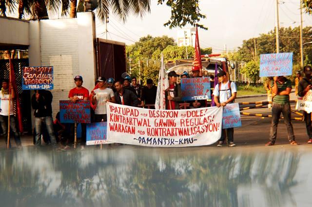 Starting a picket at Tanduay Distillers Inc. Gate 2, Cabuyao, Laguna  (Photo grabbed from Pamantik-KMU)