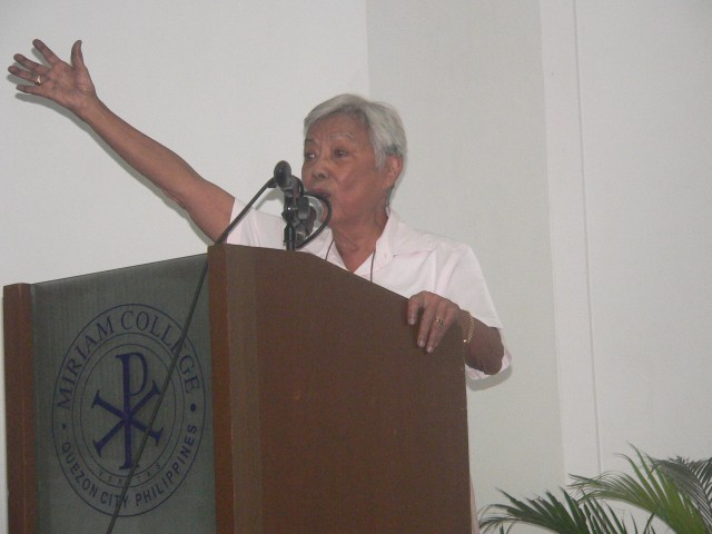 """""""We are a people united by water,"""" says Former Senator Leticia Shahani (Photo by D.Ayroso/Bulatlat.com)"""