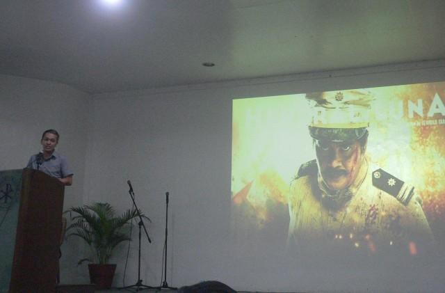 """Kalayaan o negosyo?"" Bayan's Renato Reyes Jr. takes a line from the movie ""Heneral Luna""  (Photo by D.Ayroso/Bulatlat.com)"