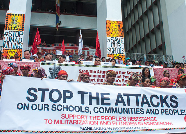 stop the attacks, lumad, manilakbayan
