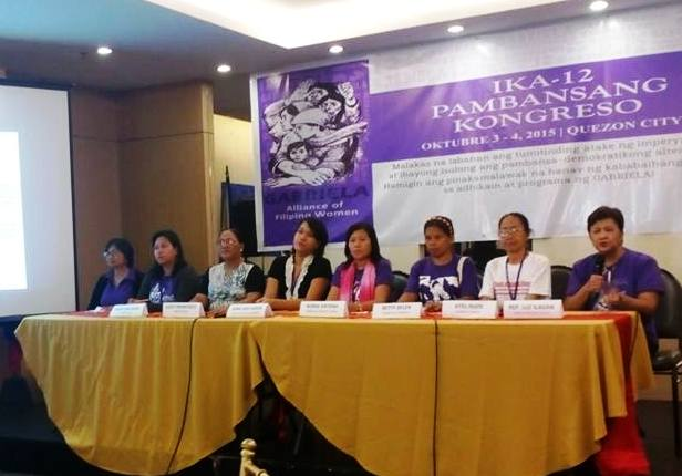 "Gabriela Women's Party Rep. Luz Ilagan and the rest of the women leaders of Gabriela from different regions denouncing the ""Liberal Party oath-taking cum  stag party"" in a press conference on Sunday, Oct. 4. (Photo grabbed from Gabriela's Facebook page)"