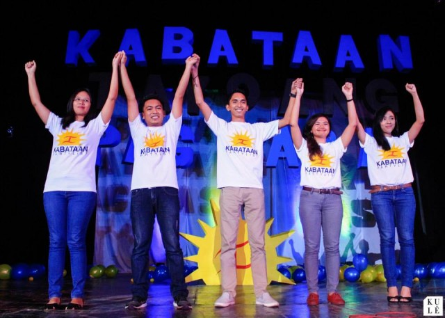 Kabataan partylist nominees L to R: Charmane Chin (5th nominee, Panay), Deo Montesclaros (4th, Cagayan), Vennel Francis Chenfoo (3rd, Northern MIndanao), Sham Astudillo (2nd, NCR), Sarah Elago (1st nominee) (Photo courtesy of Philippine Collegian)