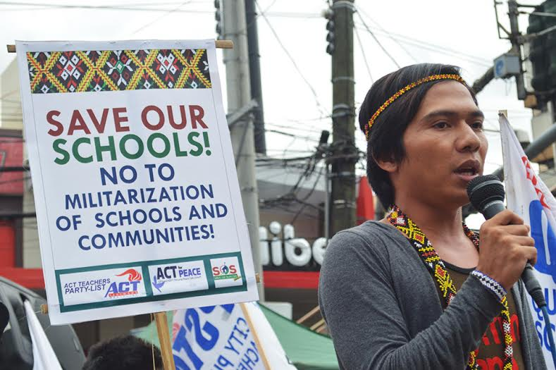 Rico Pareja, a volunteer teacher in the Alternative Learning Center for Agricultural and Livelihood Development (Alcadev) is currently in Manila to air their grievances over attacks on their school. (Photo by Pher Pasion)