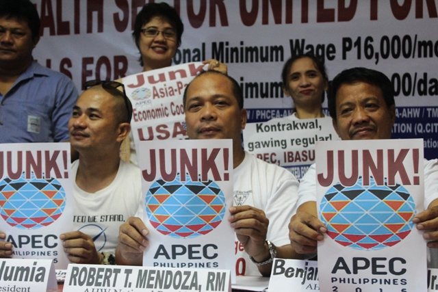 Public and private health workers said they will join protests against Apec to be held next week. (Photo by A. Umil/ Bulatlat.com)