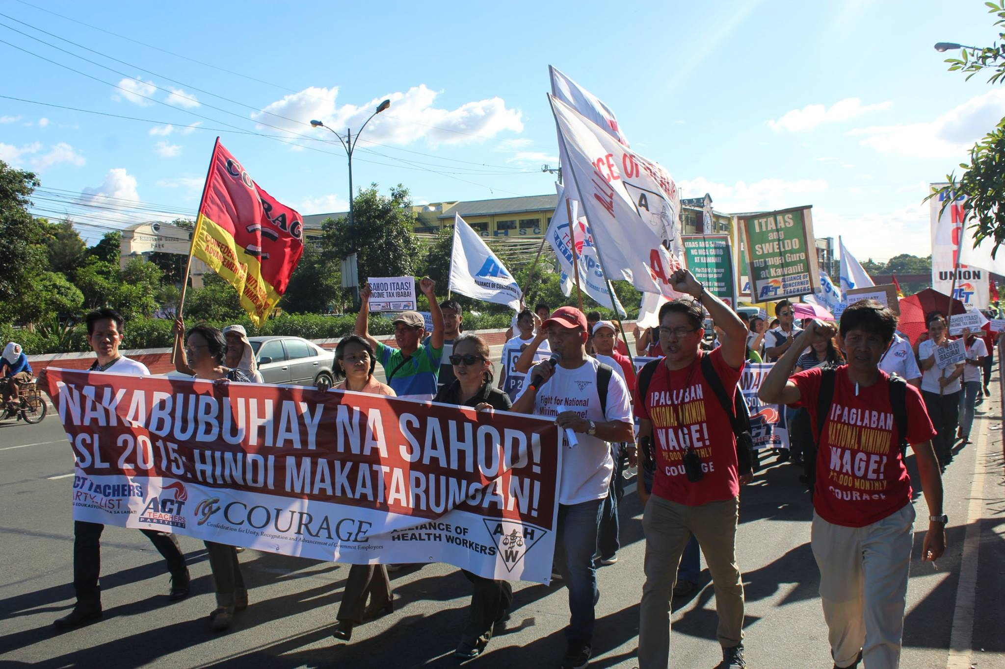 Public school teachers led by Alliance of Concerned Teachers (ACT) was joined by the All Workers Unity in their protest against the Salary Standardization Law of 2015 in the House of Representatives on Monday, Nov. 23. (Contributed photo)