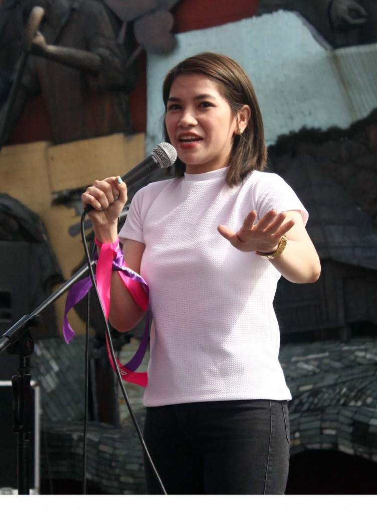 """Abusing women is not normal,"" said former Sex Bomb dancer Sugar Mercado in the commemoration of National Day of Consciousness for the Elimination of Violence against Women on Wednesday, Nov. 25. (Photo by A. Umil/ Bulatalt.com)"