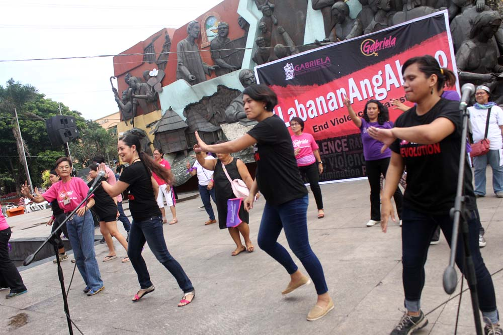 Members of Gabriela dancing to the beat of the One Billion Rising for Revolution which will also be happening again next year. (Photo by A. Umil/ Bulatlat.com)