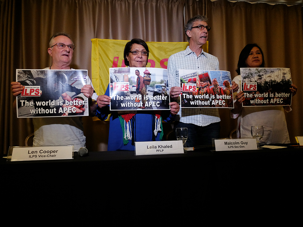 Delegates of International League of Peoples' Struggles. From left: Len Cooper from Australia Leila Khaled from Palestine, Malcom Guy from Canada and Former Representative Liza Maza. (Photo by Raymund Villanueva/ Bulatlat.com)