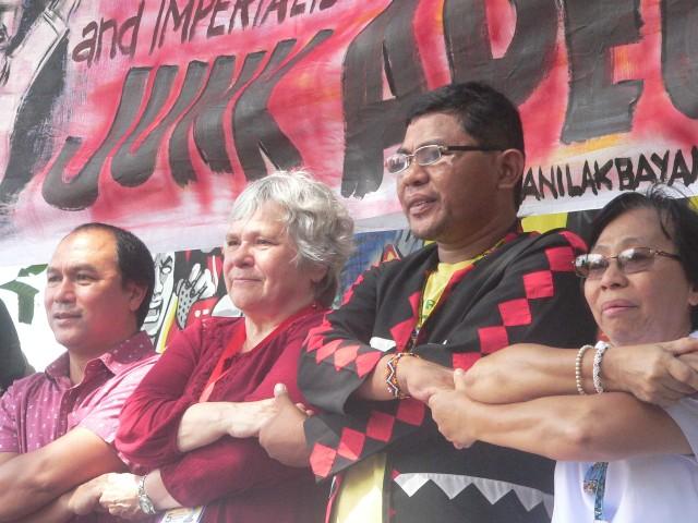 L to R: Fr. Joey Echano, Lyn Meza of ILPS and Chelsea Unity against War, Jomorito Goaynon of Sulong Katribu partylist, and Sr. Ma. Luz Mallo of Samin  (Photo by D. Ayroso/Bulatlat.com)