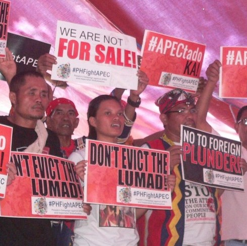 """""""They're driving us out of our ancestral lands, and now even here?"""" said Michelle Campos, as the Kampuhang Bayan was allowed only up to Nov. 12  (Photo by D.Ayroso/Bulatlat.com)"""