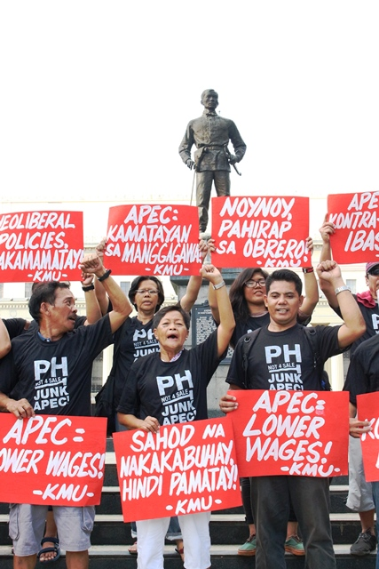 Picture: Workers protest APEC