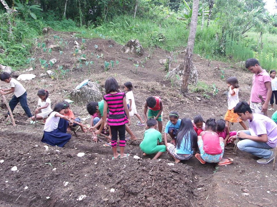 Elementary school children from TRIFPSS tilling a plot for their vegetable and medicinal plant garden. Photo from TRIFPS facebook.