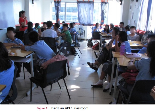"""Photo grabbed from Riep Curtis' research: """"Corporatised Education in the Philippines: Pearson, Ayala Corporation and the emergence of Affordable Private Education Centers (Apec)"""