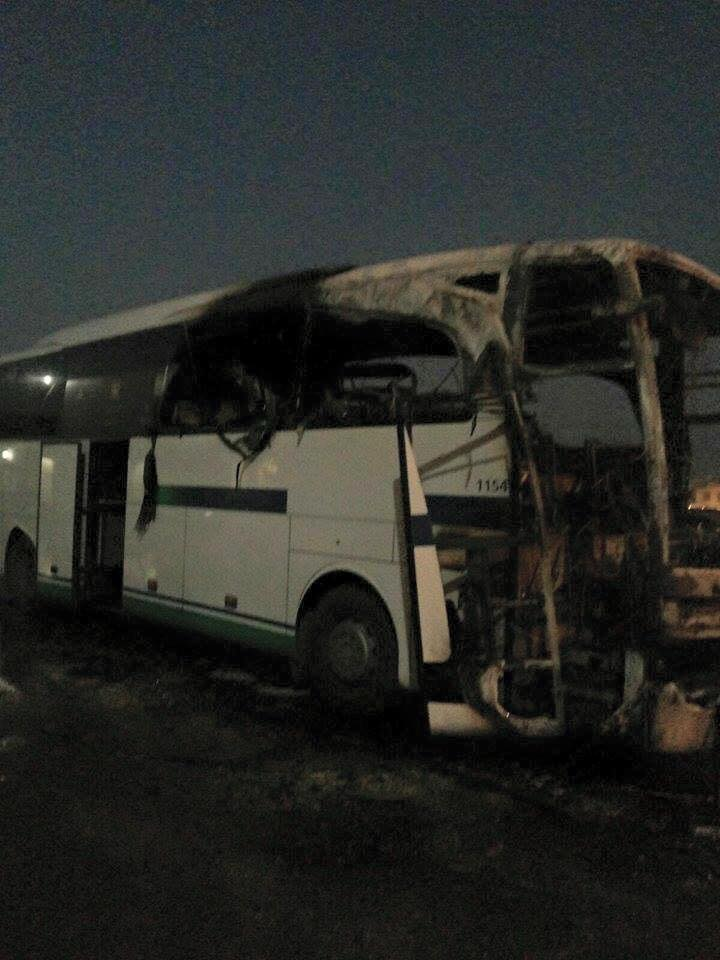 Bus burned down in Saudi Arabia. (Photo courtesy of Migrante - Middle East)